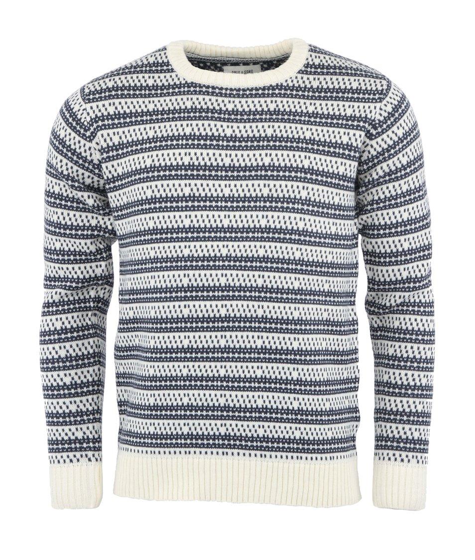 Modro-bílý svetr Only & Sons Brody