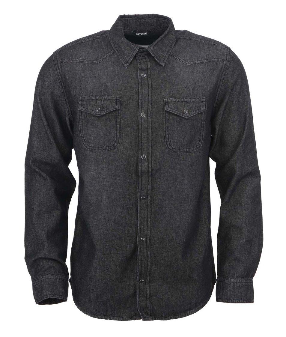 Černá džínová košile Only & Sons Jay Wester