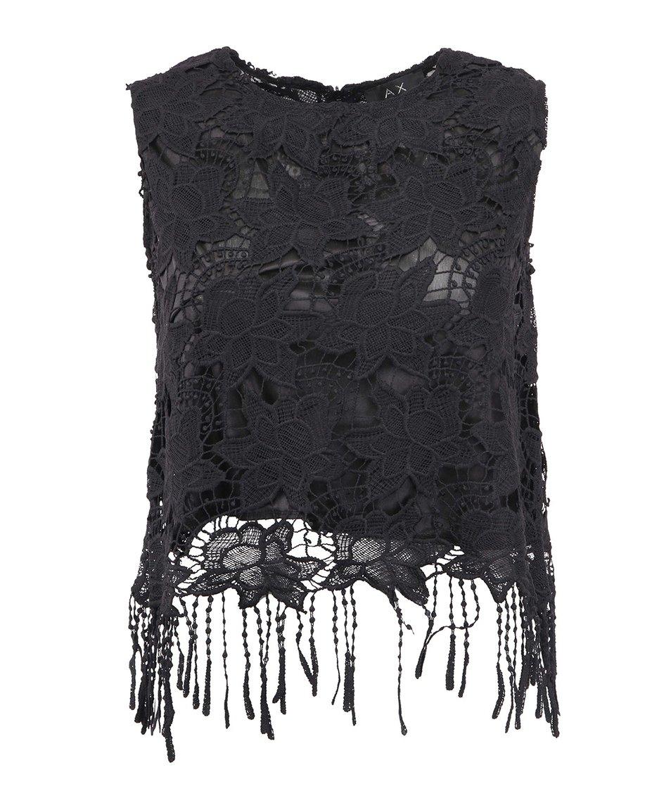 Černý krajkový top s třásněmi AX Paris