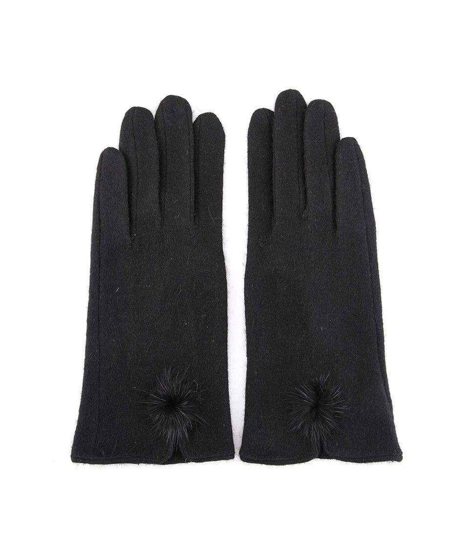 Černé vlněné rukavice s bambulí INVUU London