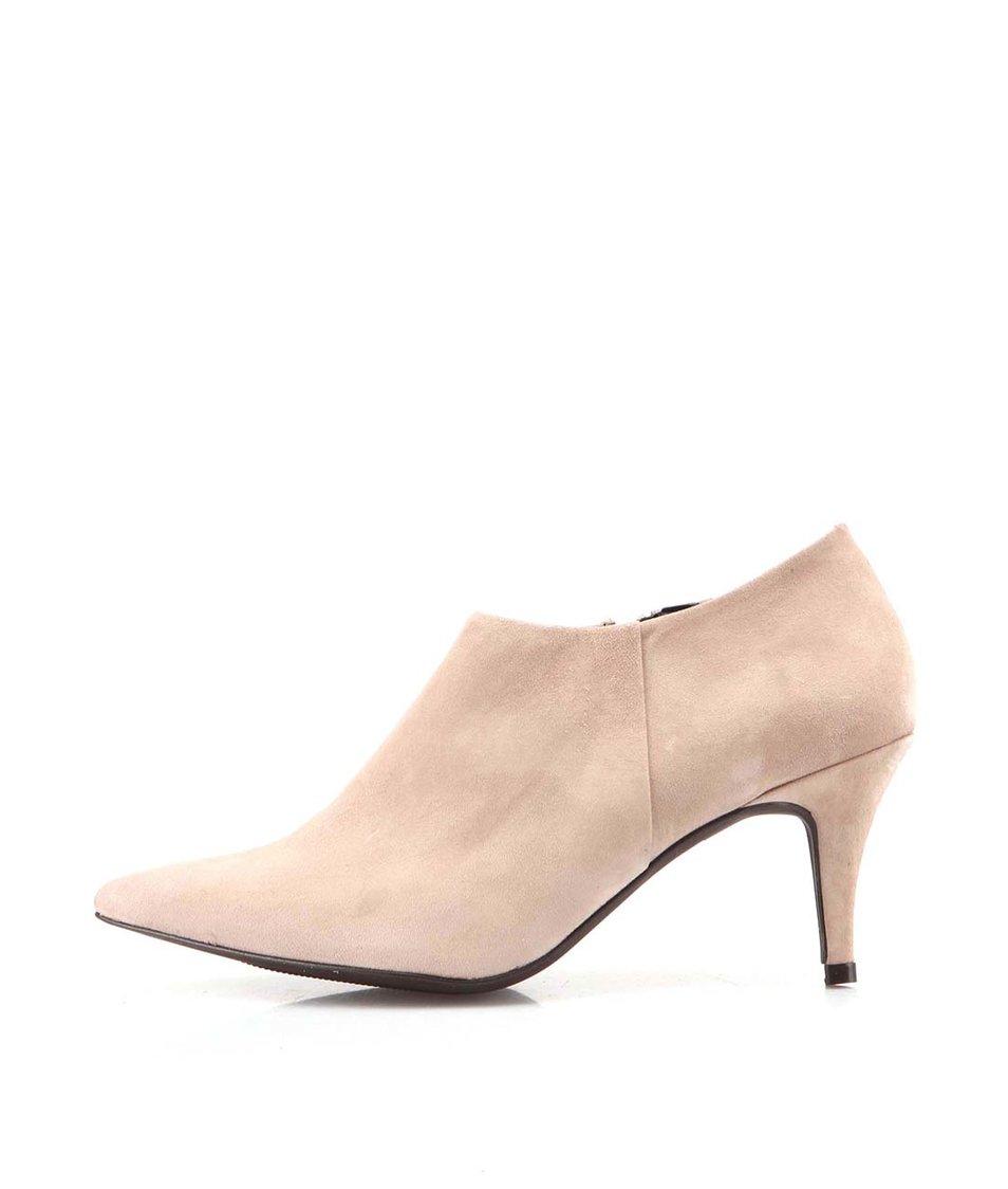 Béžové kožené boty na podpatku OJJU