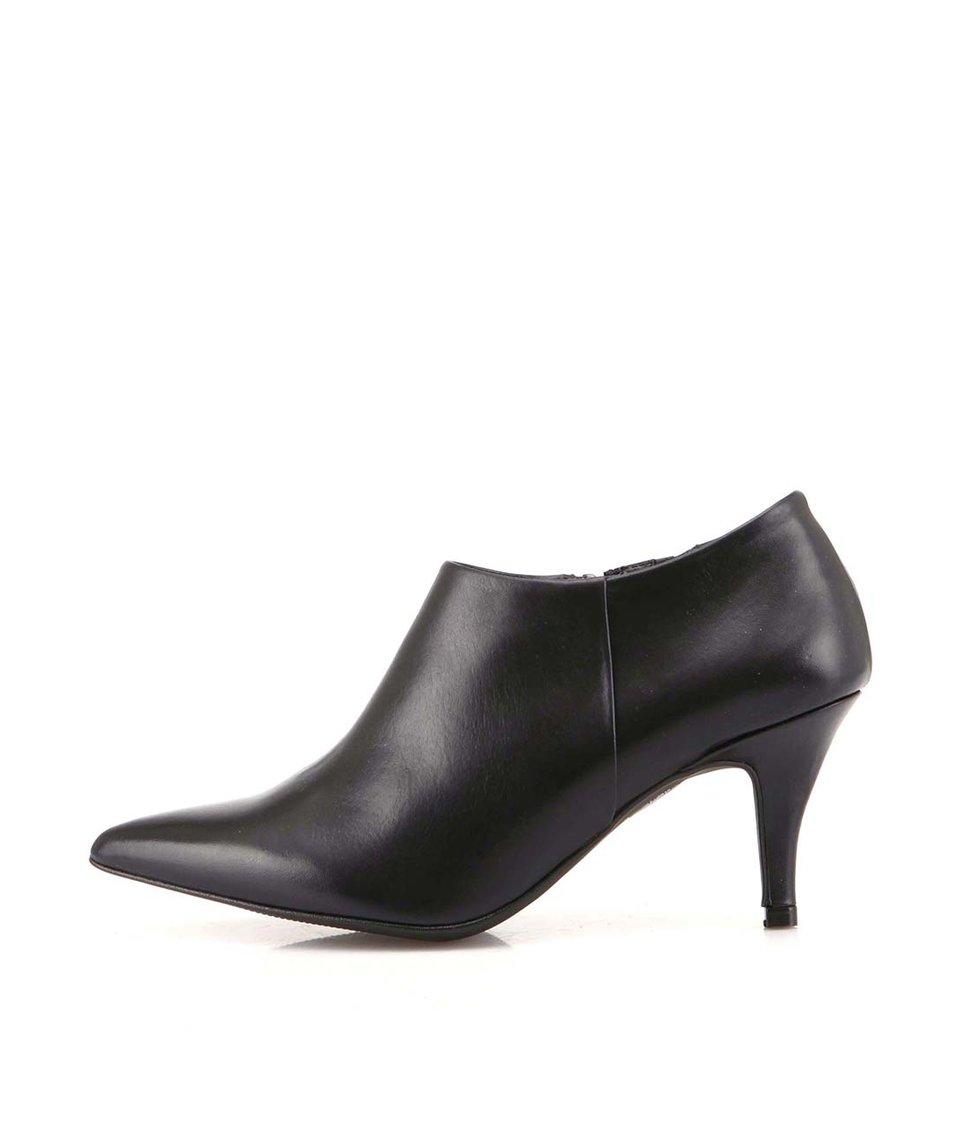 Černé kožené boty na podpatku OJJU