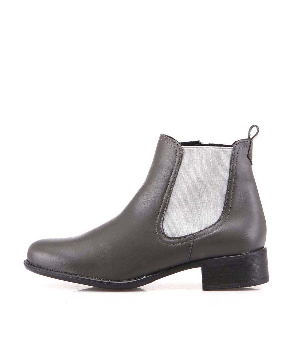 Tmavě šedé kožené kotníkové boty OJJU