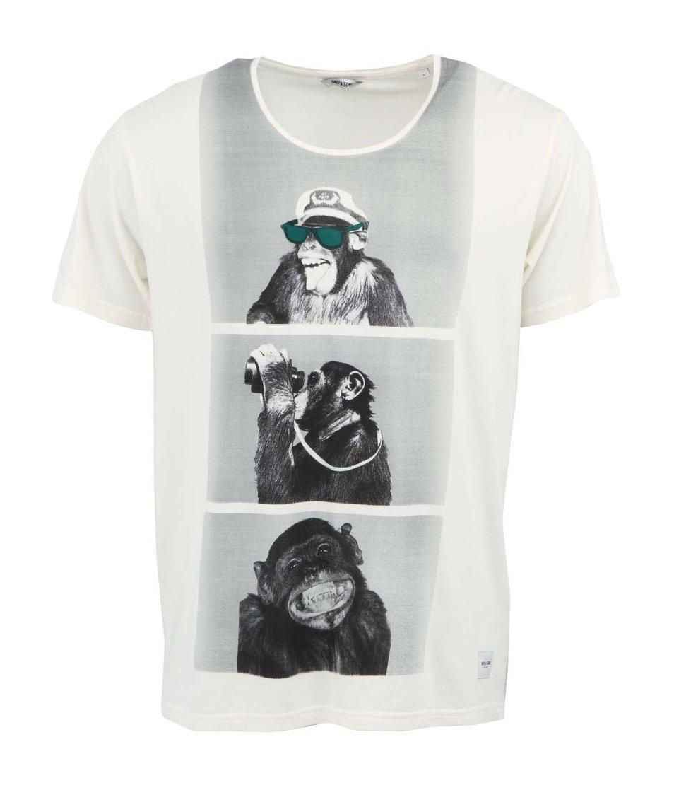 Krémové triko se šimpanzi Only & Sons Monkey