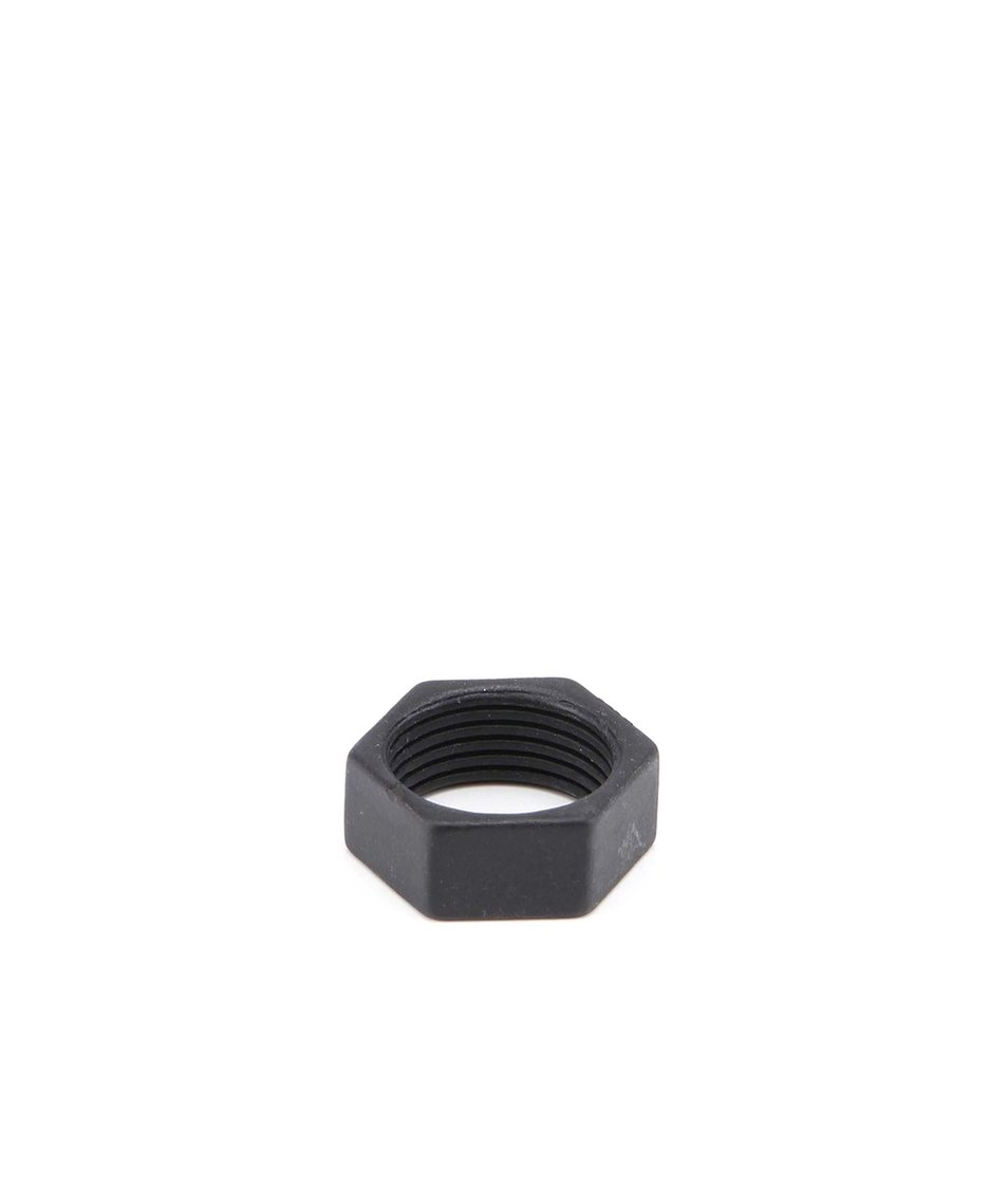 Černý prsten ve tvaru matice Icon Brand Insane Bolt