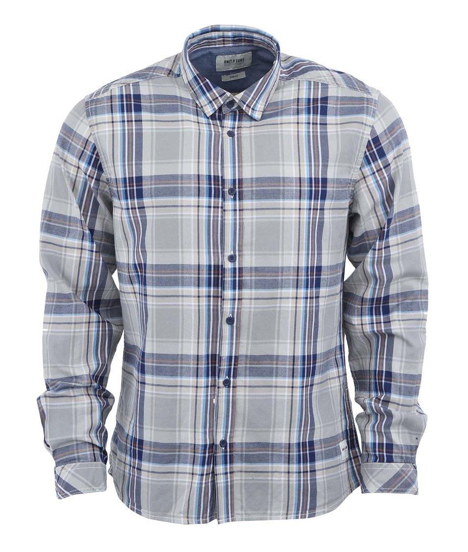 Tmavě modrá kostkovaná košile Only & Sons Earlton