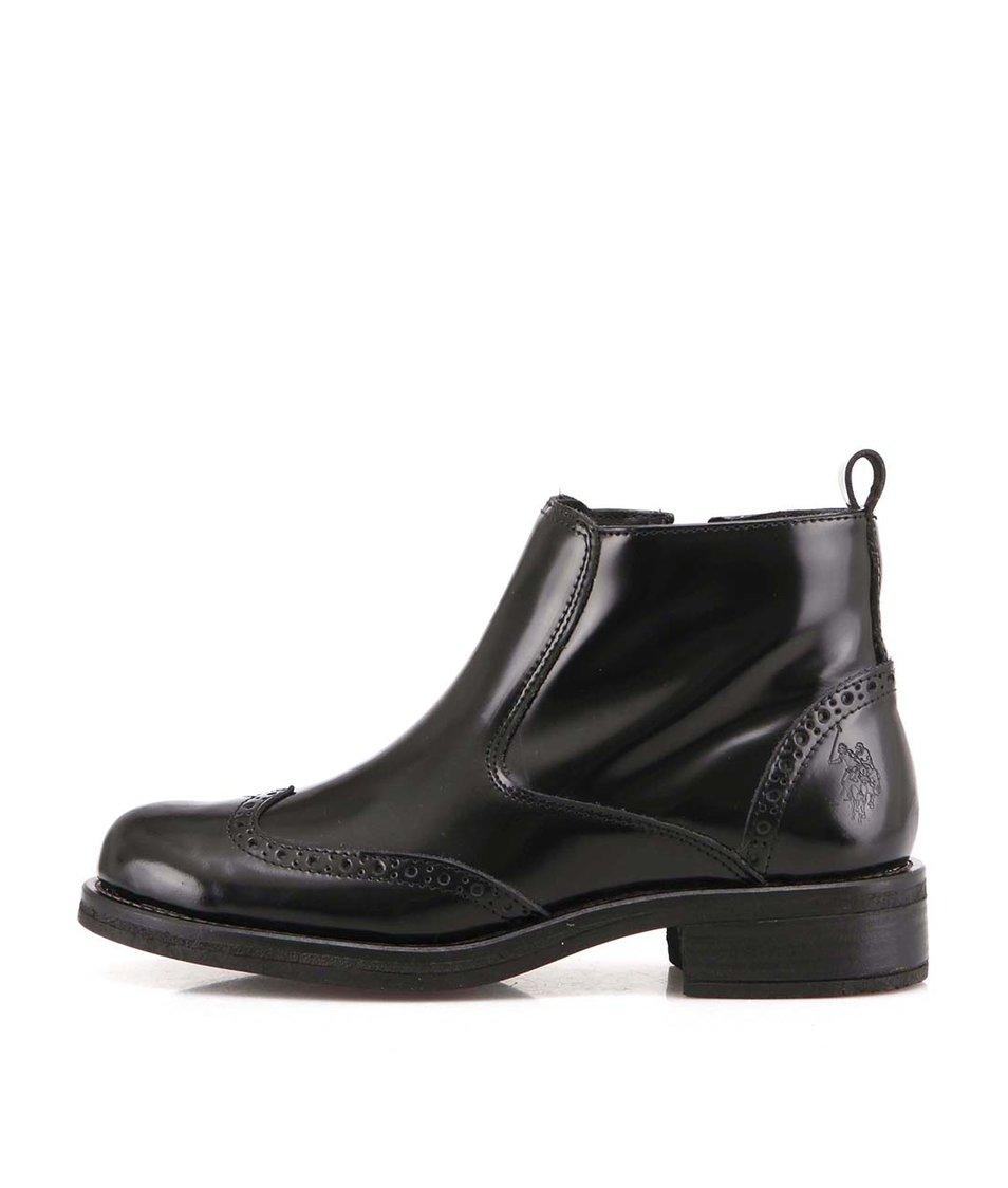 Černé lesklé kožené kotníkové boty U.S. Polo Assn. Ianna Abrasivato