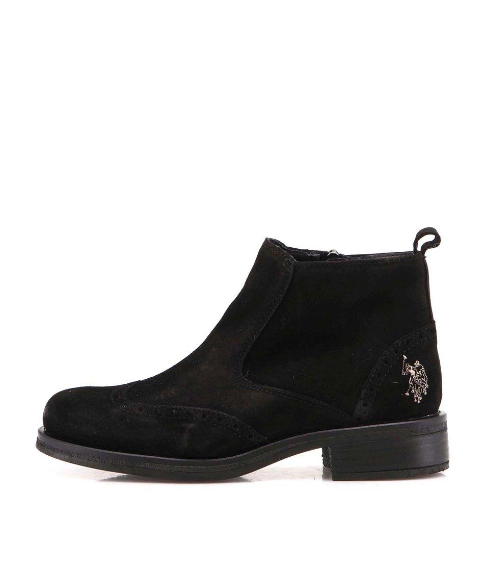 Černé dámské kožené kotníkové boty U.S. Polo Assn. Ianna