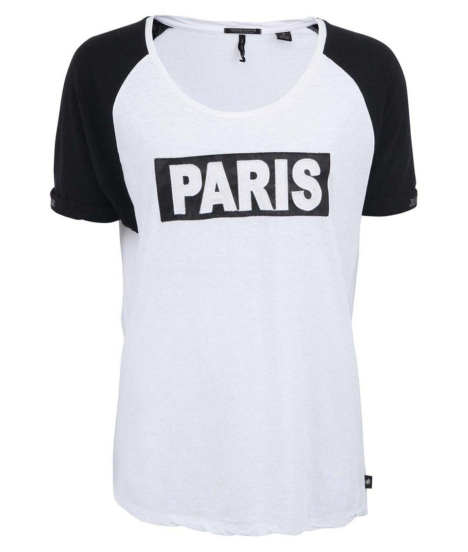 Černo-bílé tričko s nápisem Paris Maison Scotch