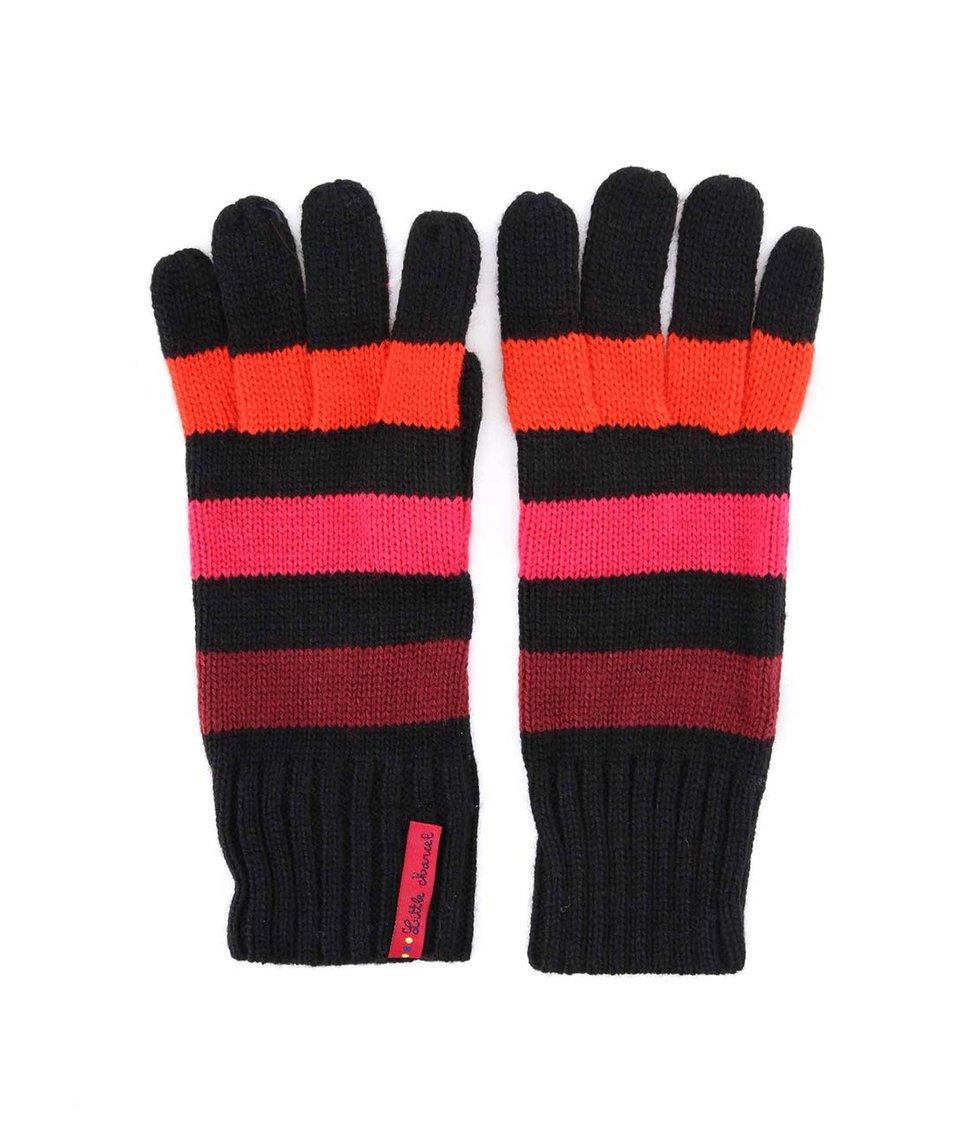 Černé rukavice s růžovo-oranžovými pruhy Little Marcel Gabi