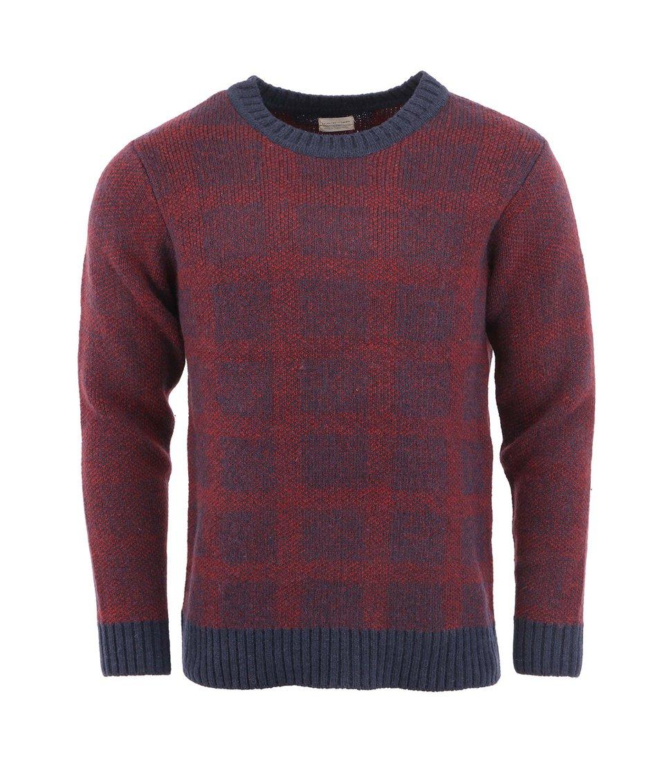 Červeno-modrý svetr Selected Tyler