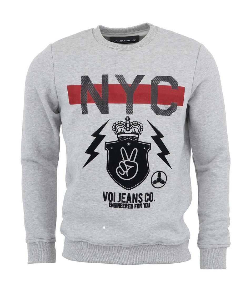 Šedá mikina s potiskem Voi Jeans NYC