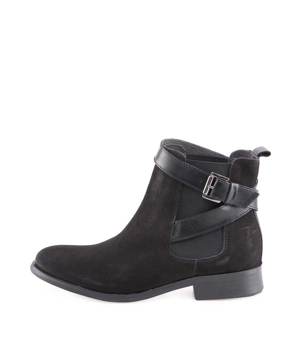 Černé kožené kotníkové boty Pieces Izi