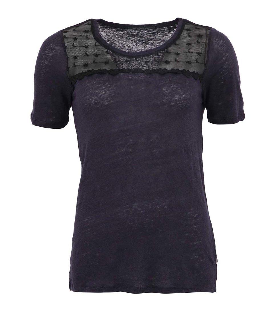 Fialovomodré průsvitné lněné tričko Maison Scotch Star & Moon