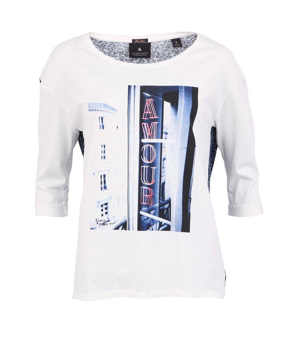 Bílé tričko s kontrastními zády Maison Scotch Romantic