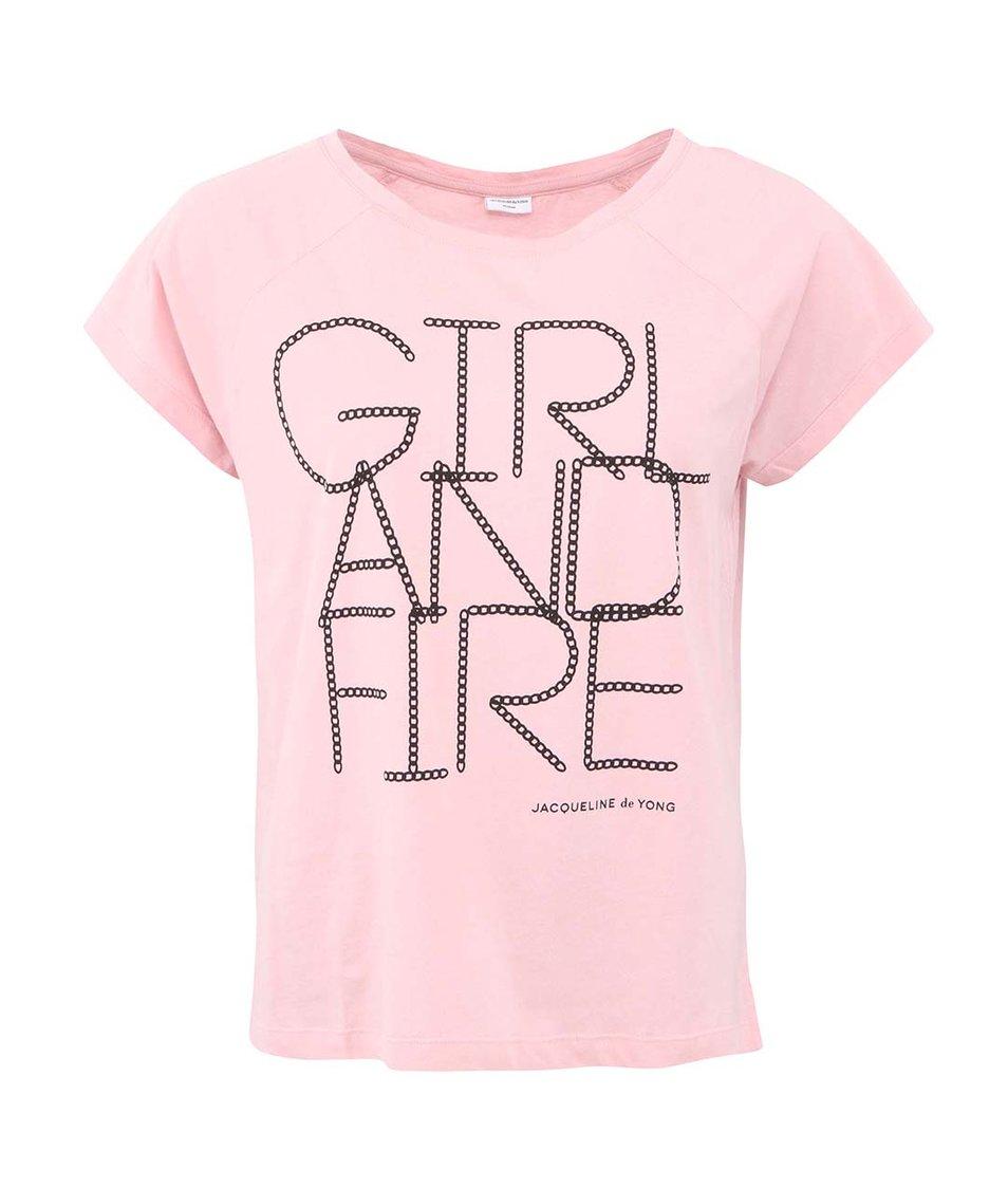 Růžové tričko s nápisem JACQUELINE de YONG Manhattan