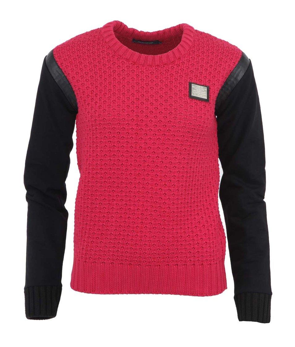 Růžový svetr s černými rukávy Voi Jeans Lady Cellar