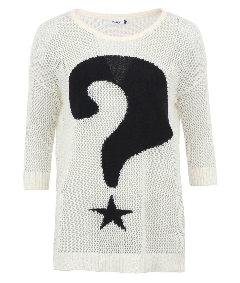 Bílý svetr s otazníkem ONLY Quéstion
