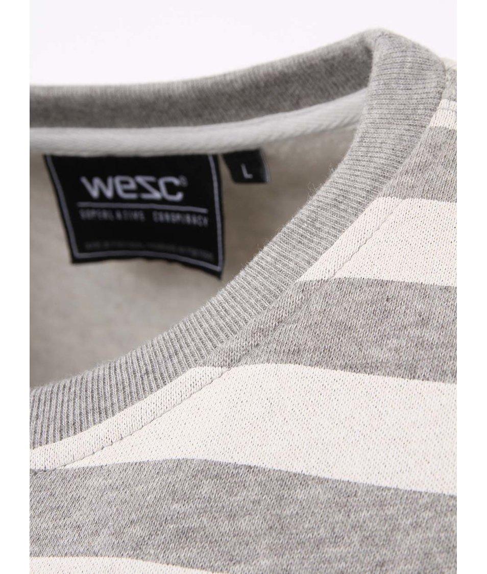 Šedá pánská pruhovaná mikina WeSC Overlay Stripe