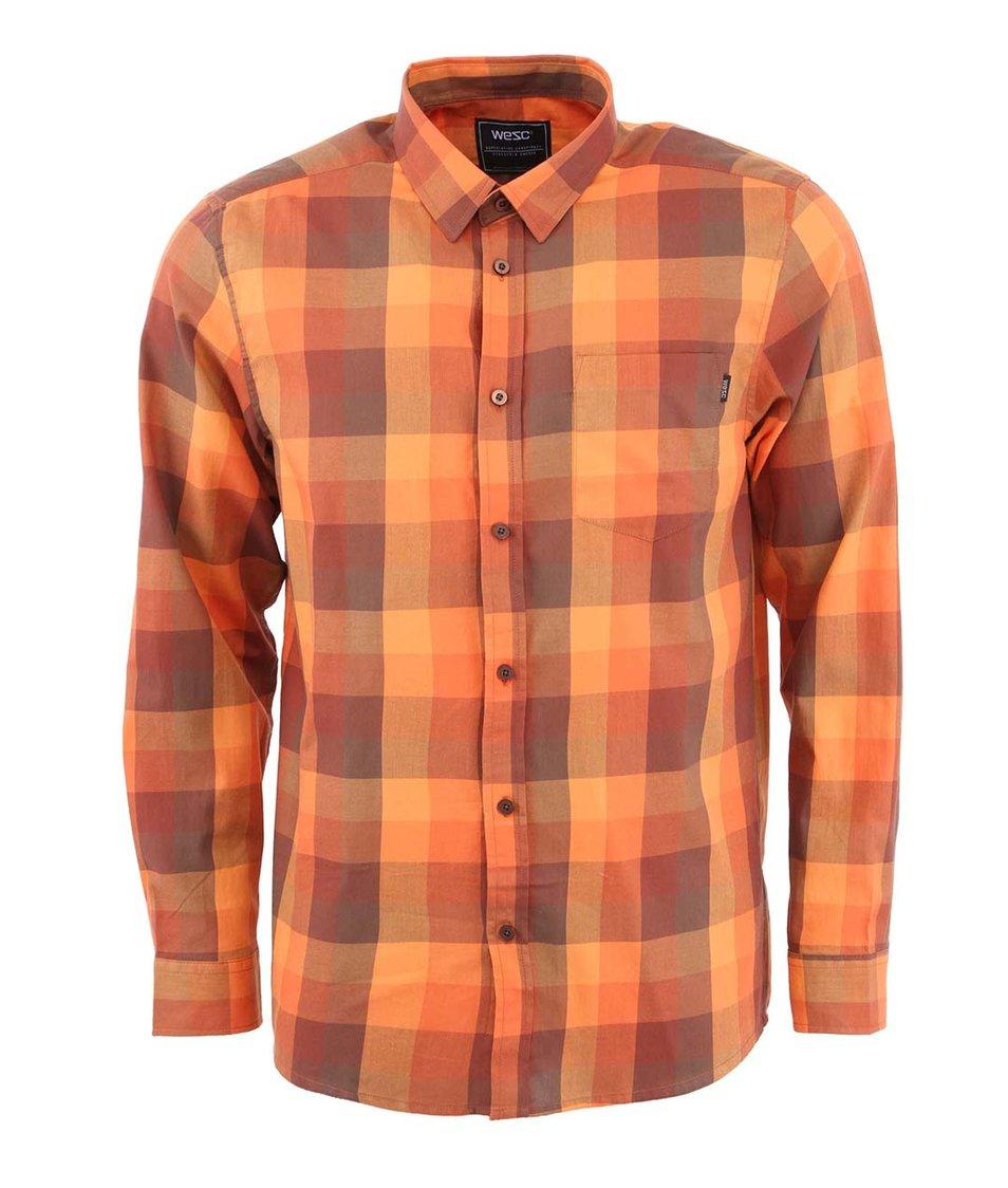 Oranžová kostkovaná košile s dlouhým rukávem WeSC Darcy