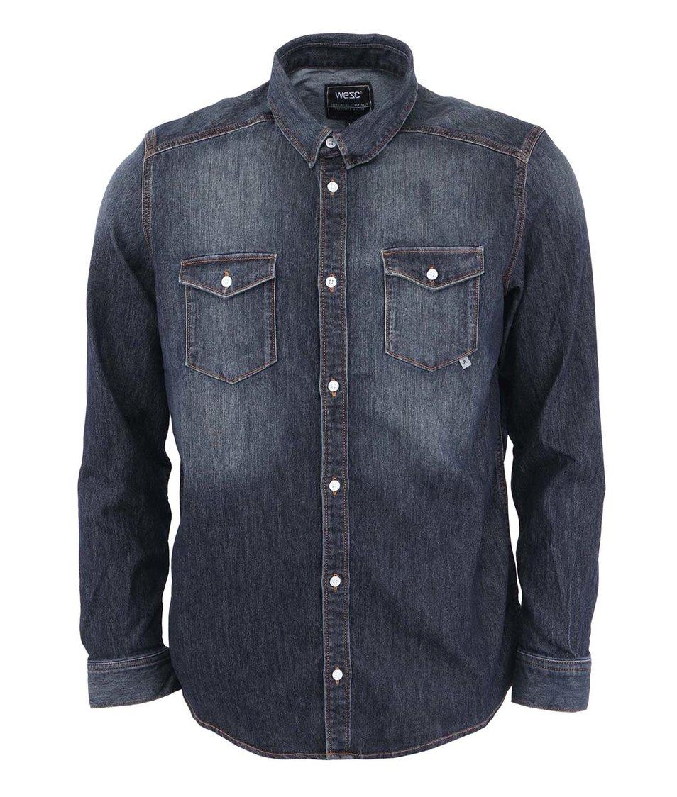 Tmavě modrá denimová košile WeSC Maccoy