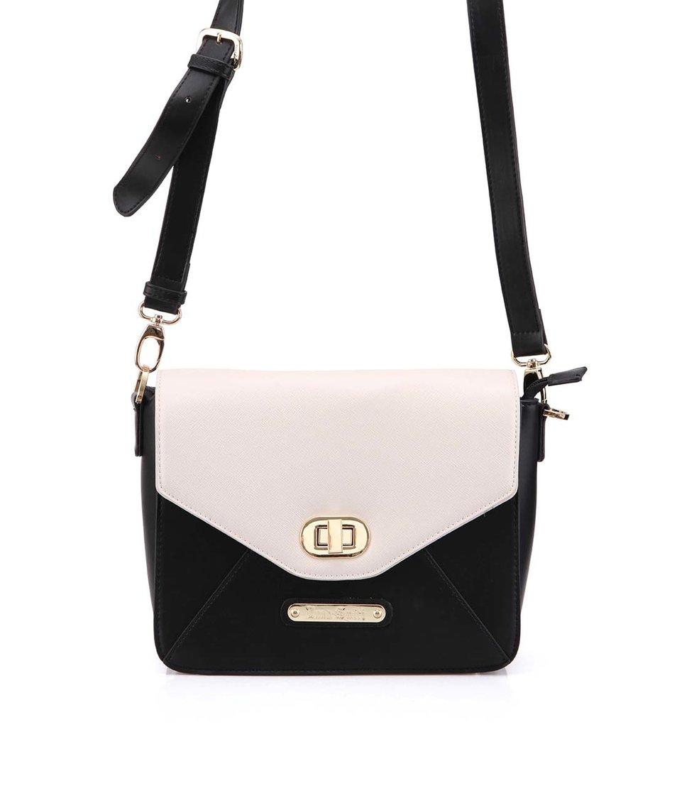 Krémovo-černá kabelka s popruhem Anna Smith