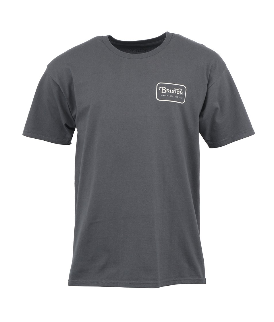 Tmavě šedé pánské triko s potiskem Brixton Grade