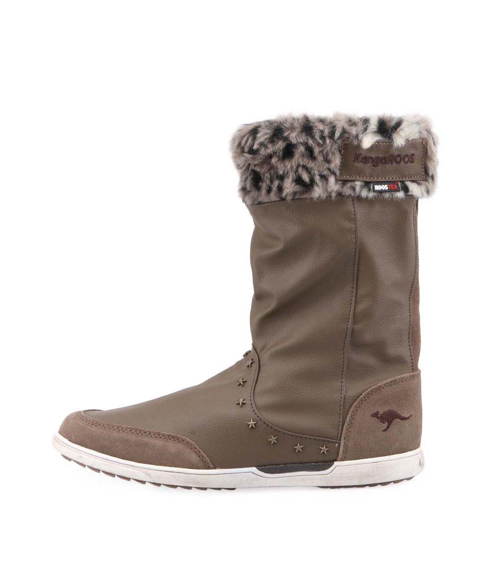Hnědé dámské zimní boty s kožíškem KangaROOS Kanga-Boot