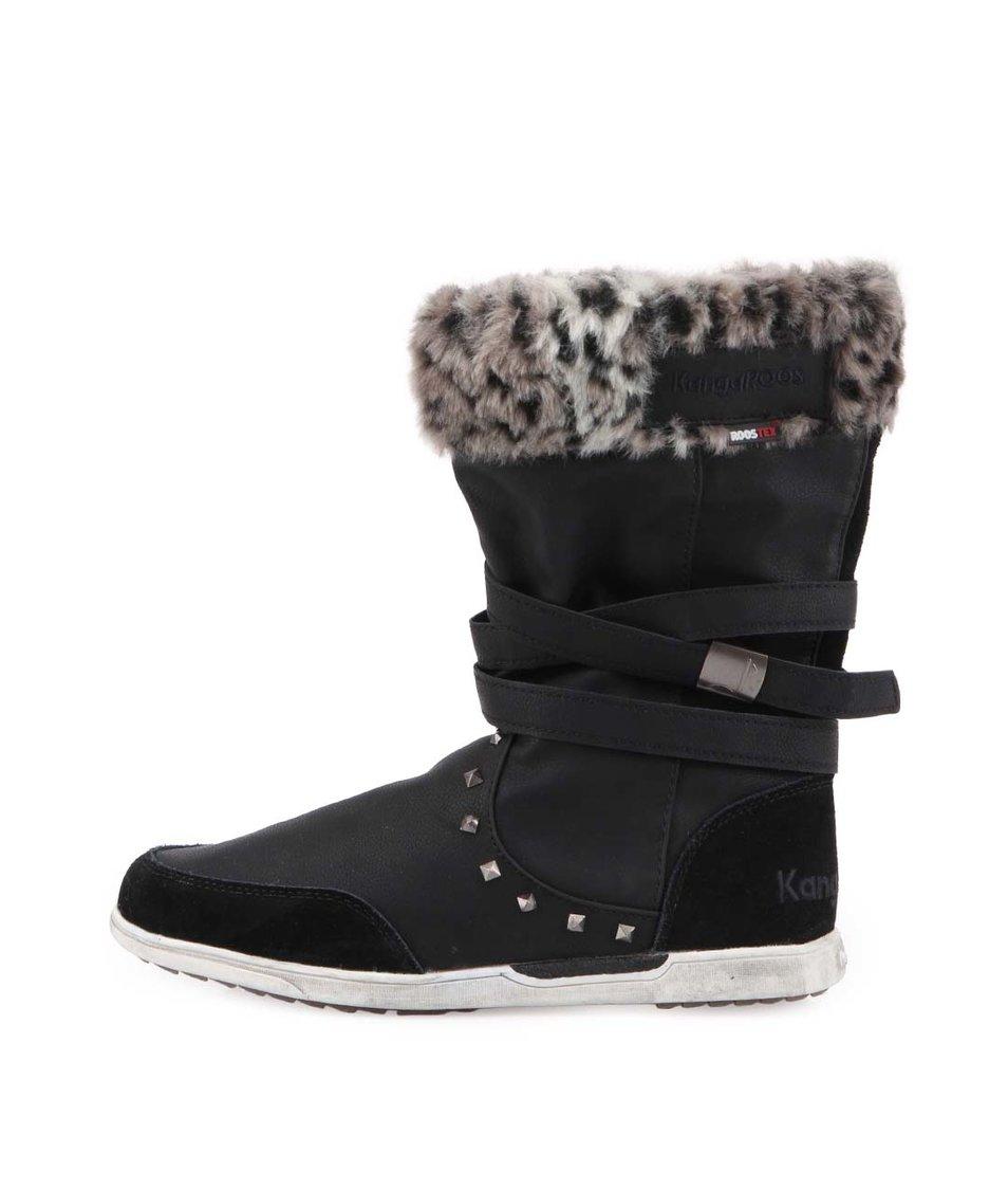 Černé dámské zimní boty s kožíškem KangaROOS K-Boot