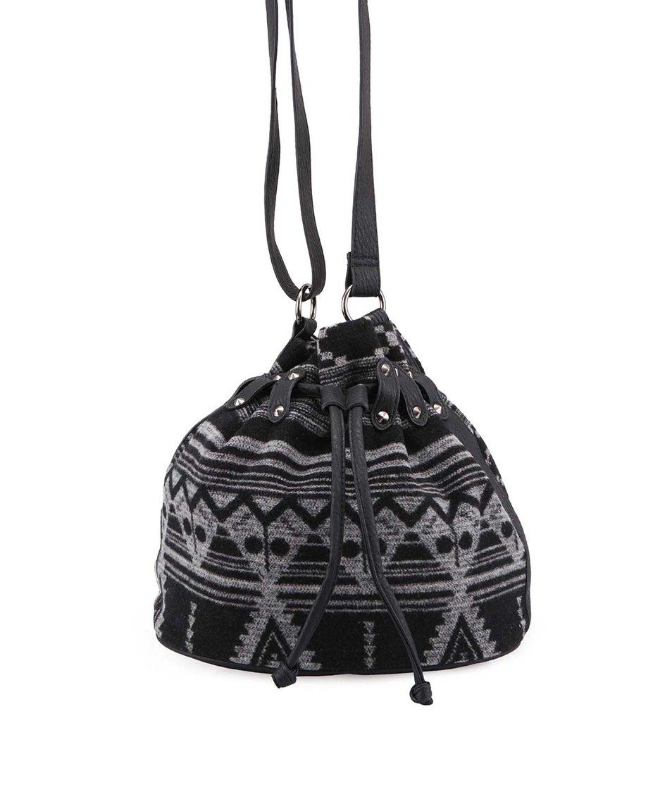 Černo-šedá látková kabelka se vzorem Pieces Kulanda