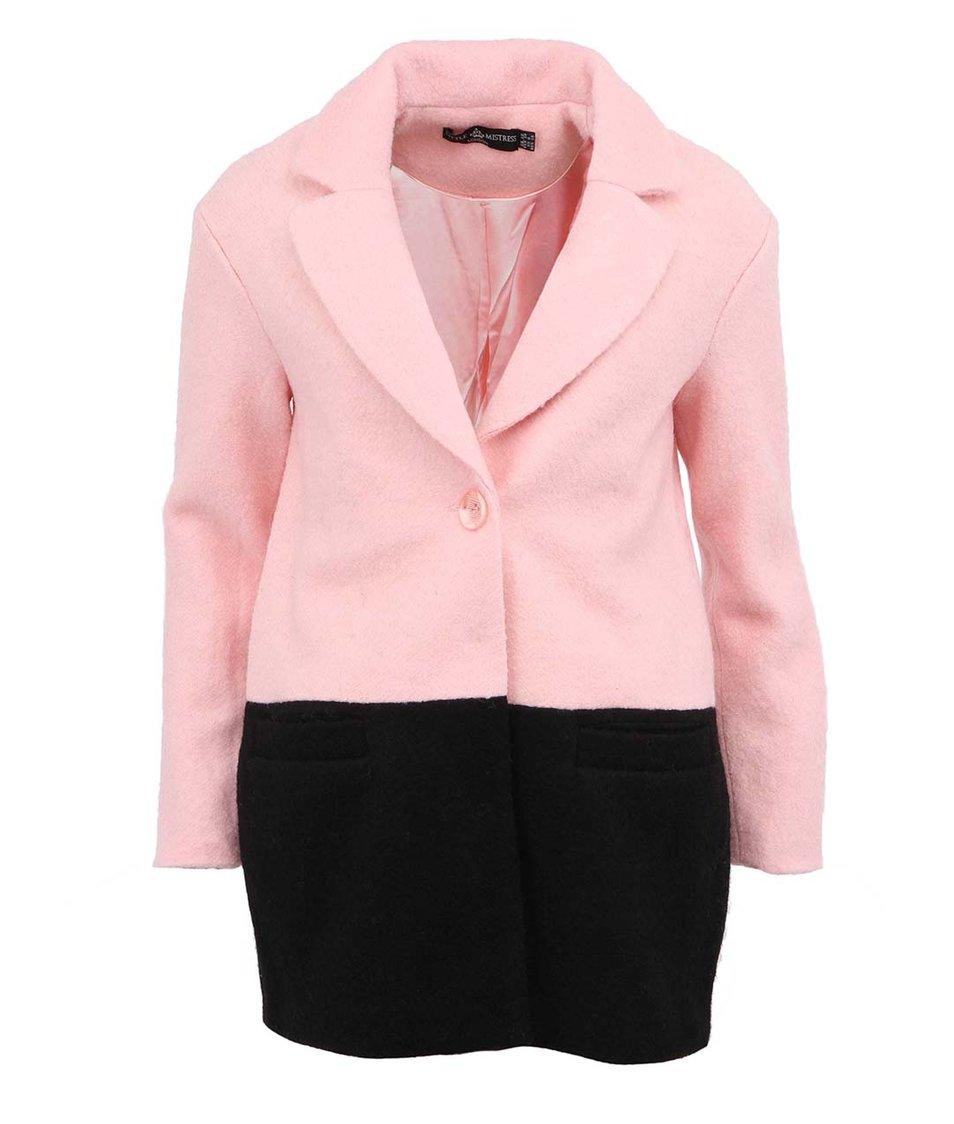 Černo-růžový vlněný kabát Little Mistress