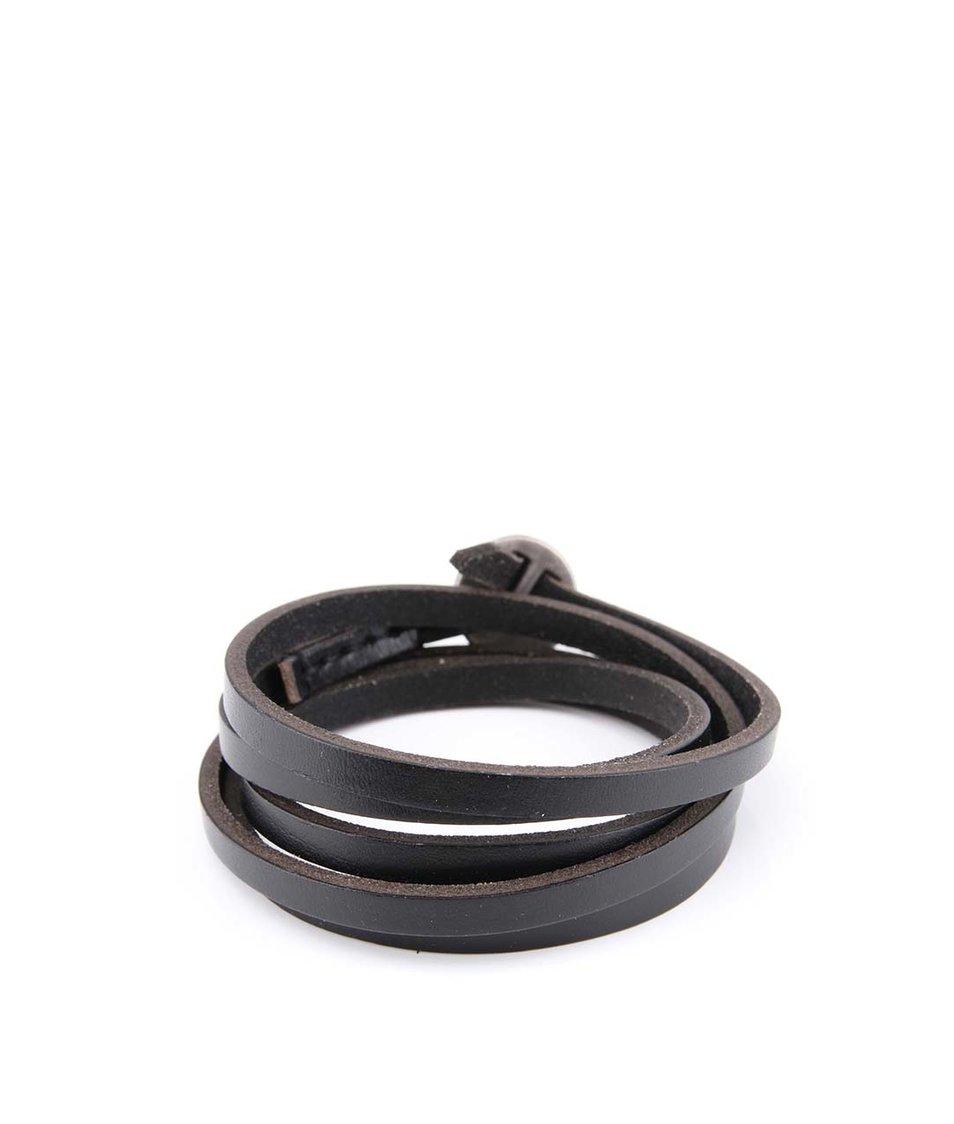 Černý kožený náramek Lucleon Lucca