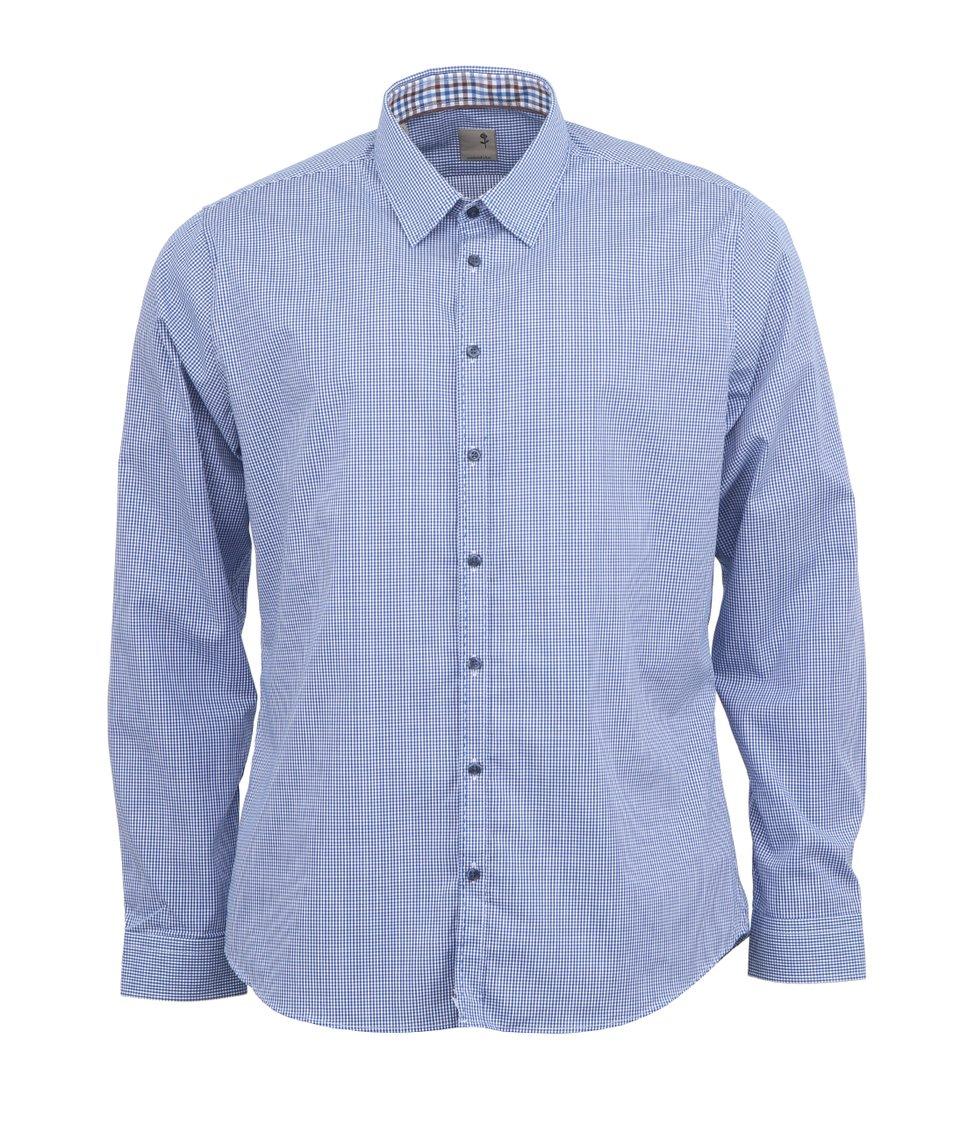 Modrá kostkovaná košile Seidensticker Schwarze Rose Slim Fit