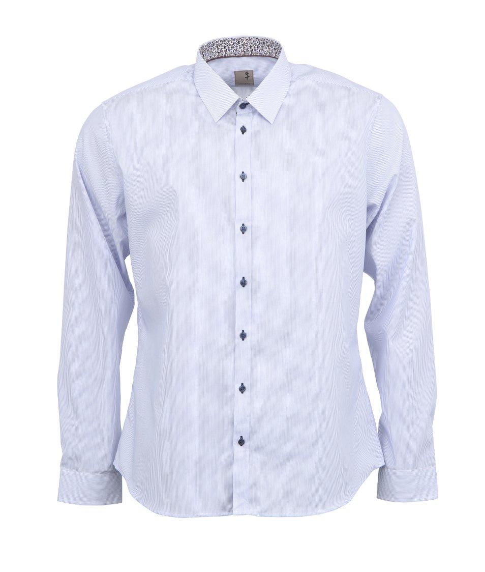 Bílá košile s modrými pruhy Seidensticker Schwarze Rose Slim Fit