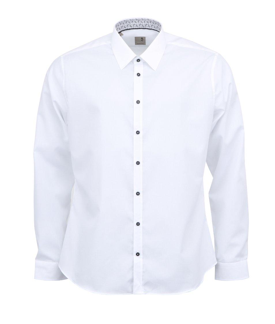 Bílá košile s černými knoflíky Seidensticker Schwarze Rose Slim Fit