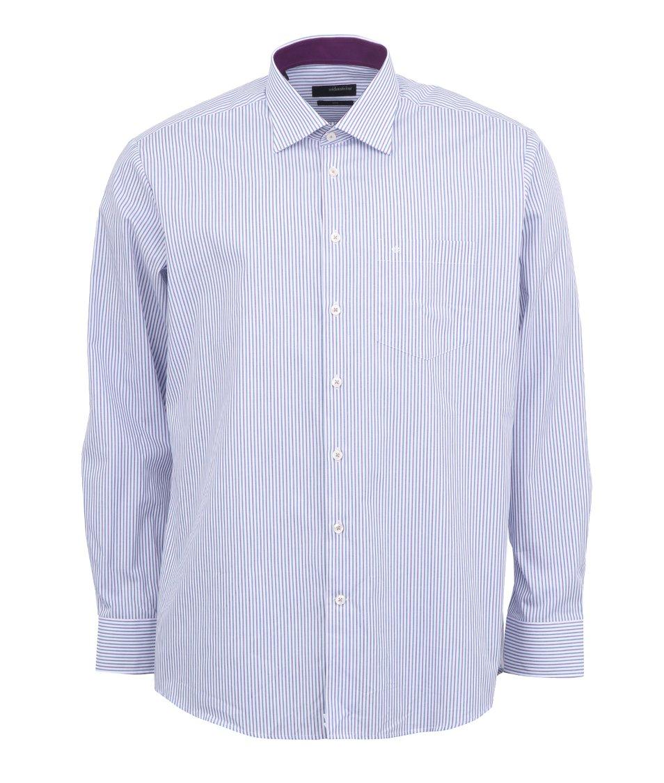 Fialovo-bílá pruhovaná košile Seidensticker Uno Regular Fit