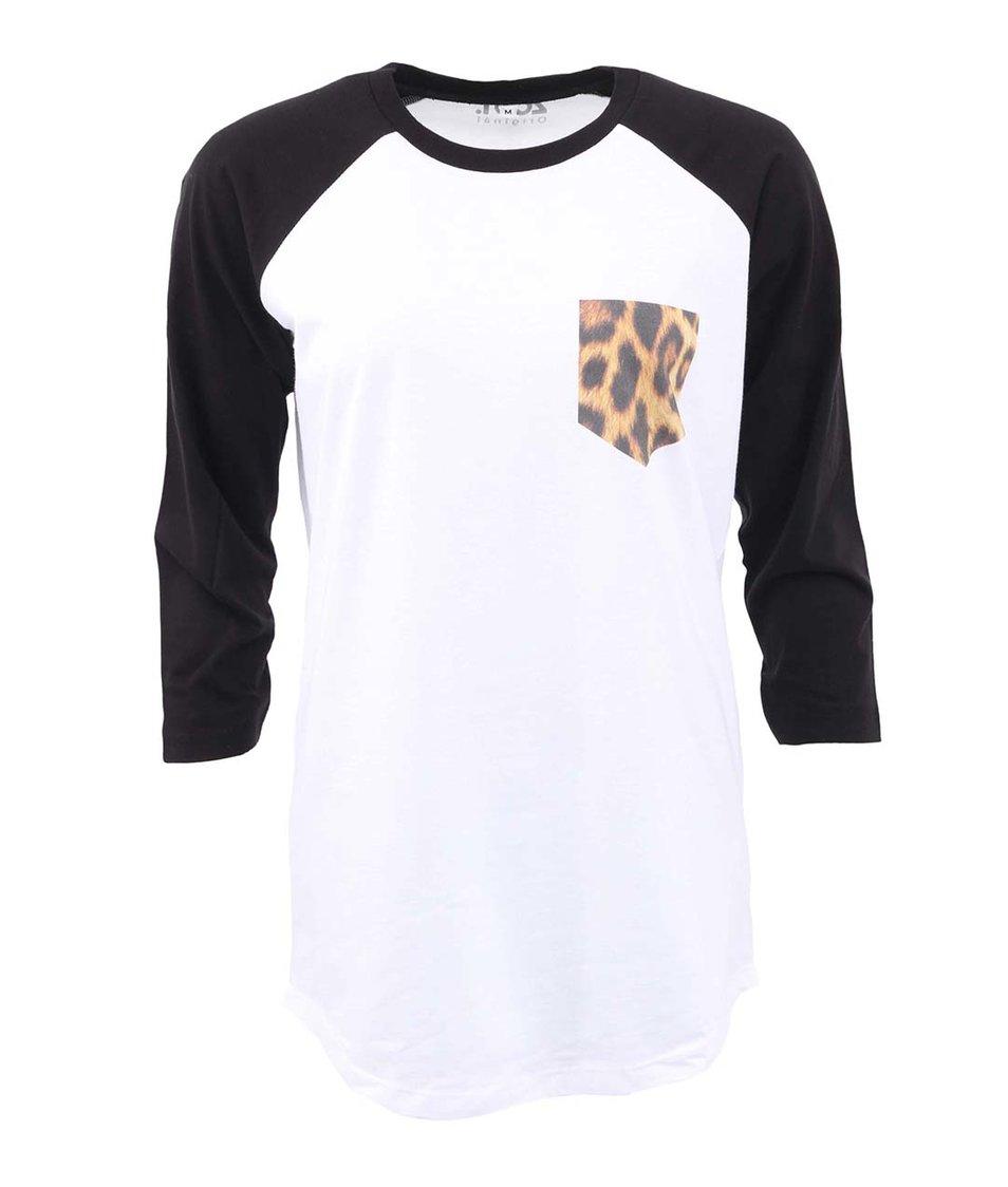 Černo-bílé dlouhé unisex triko ZOOT Originál Pocket Leopardí