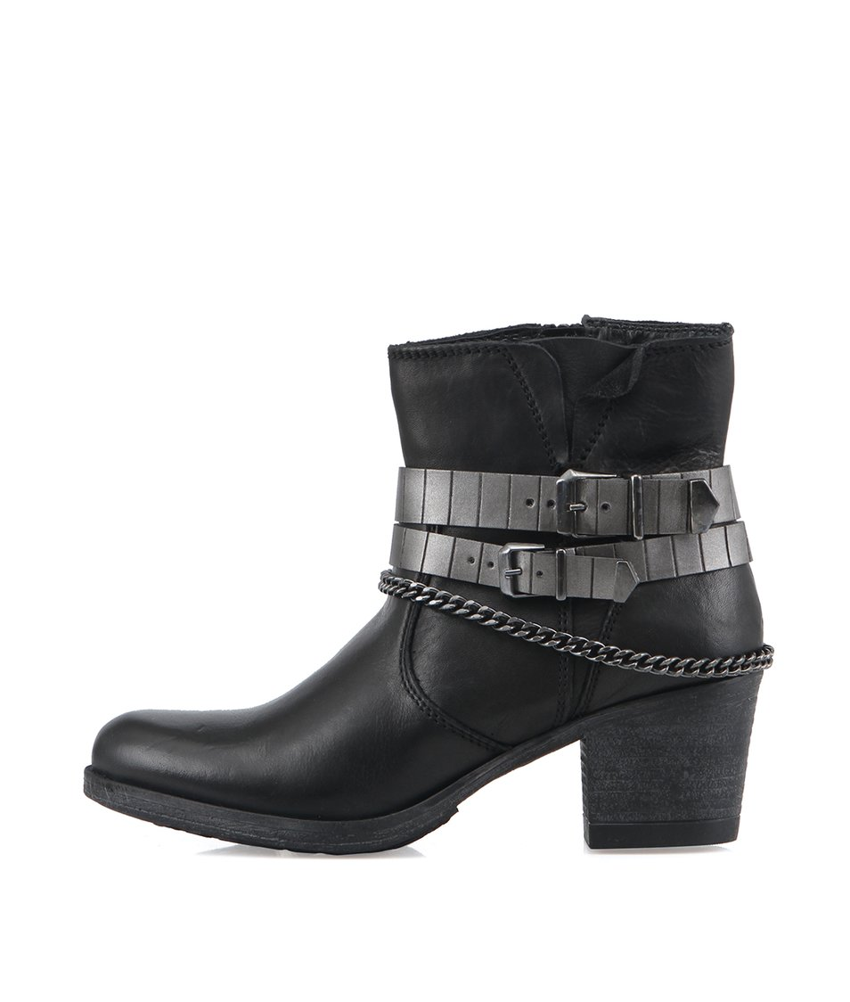 Černé kožené kotníkové boty s páskem kolem nártu Tamaris