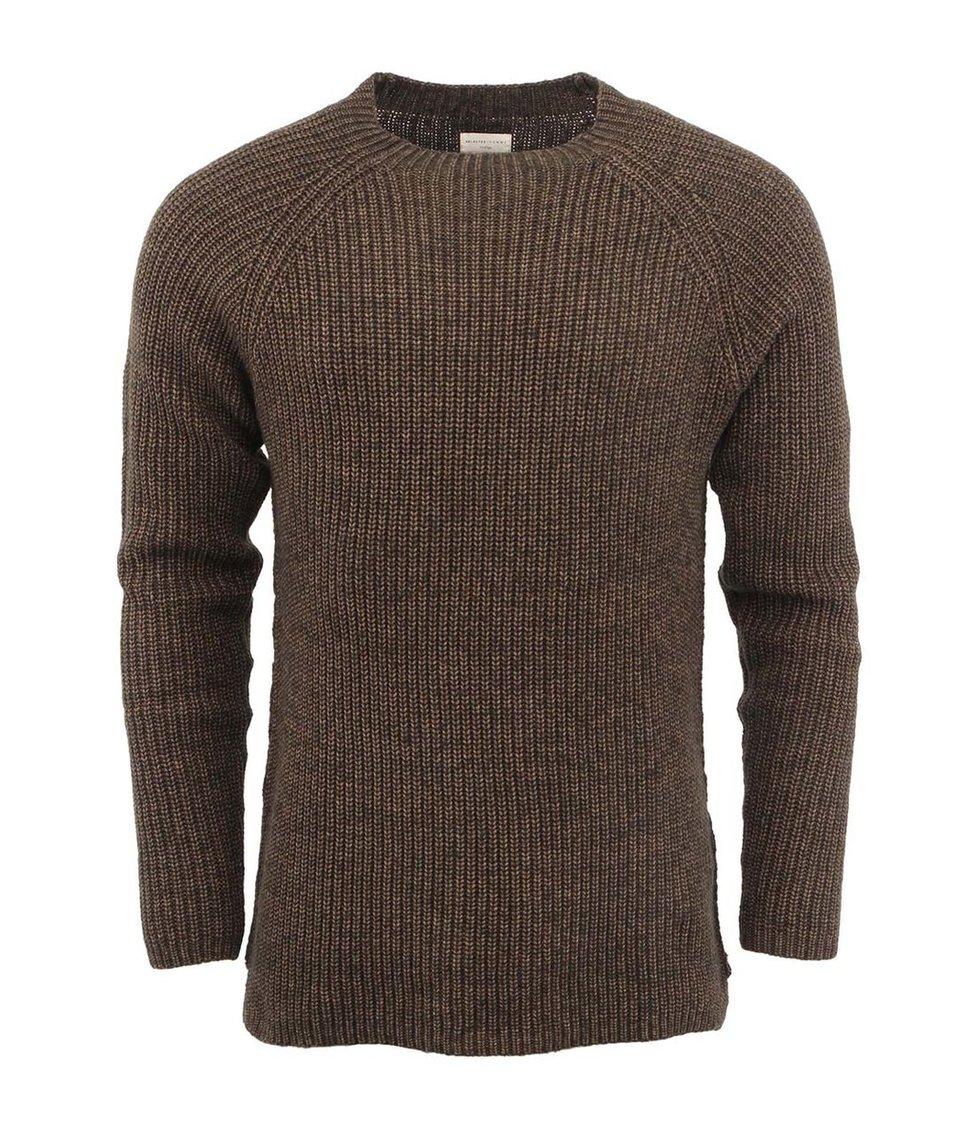 Hnědozelený pánský svetr Selected