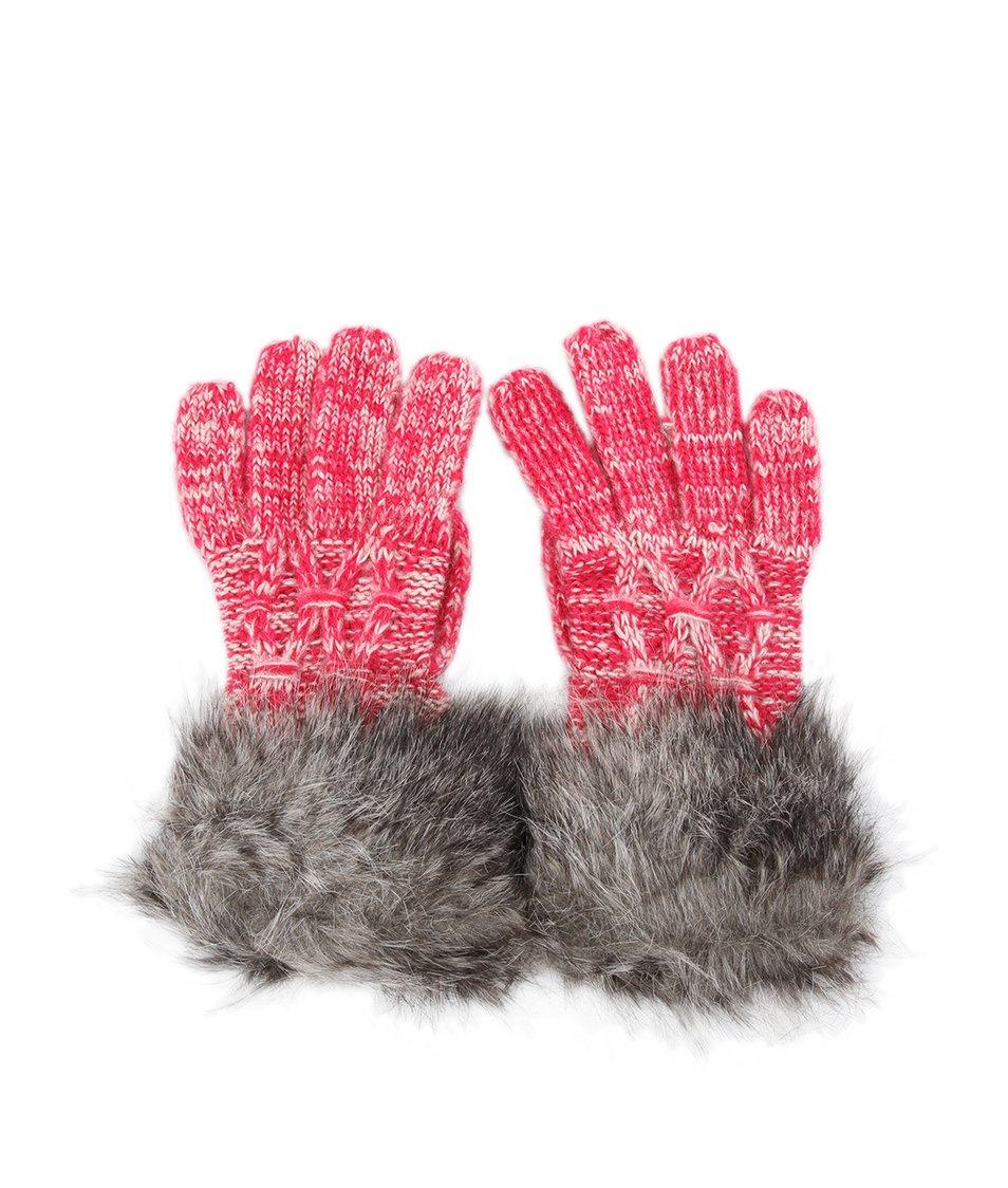 Růžovo-bílé pletené rukavice GINGER+SOUL