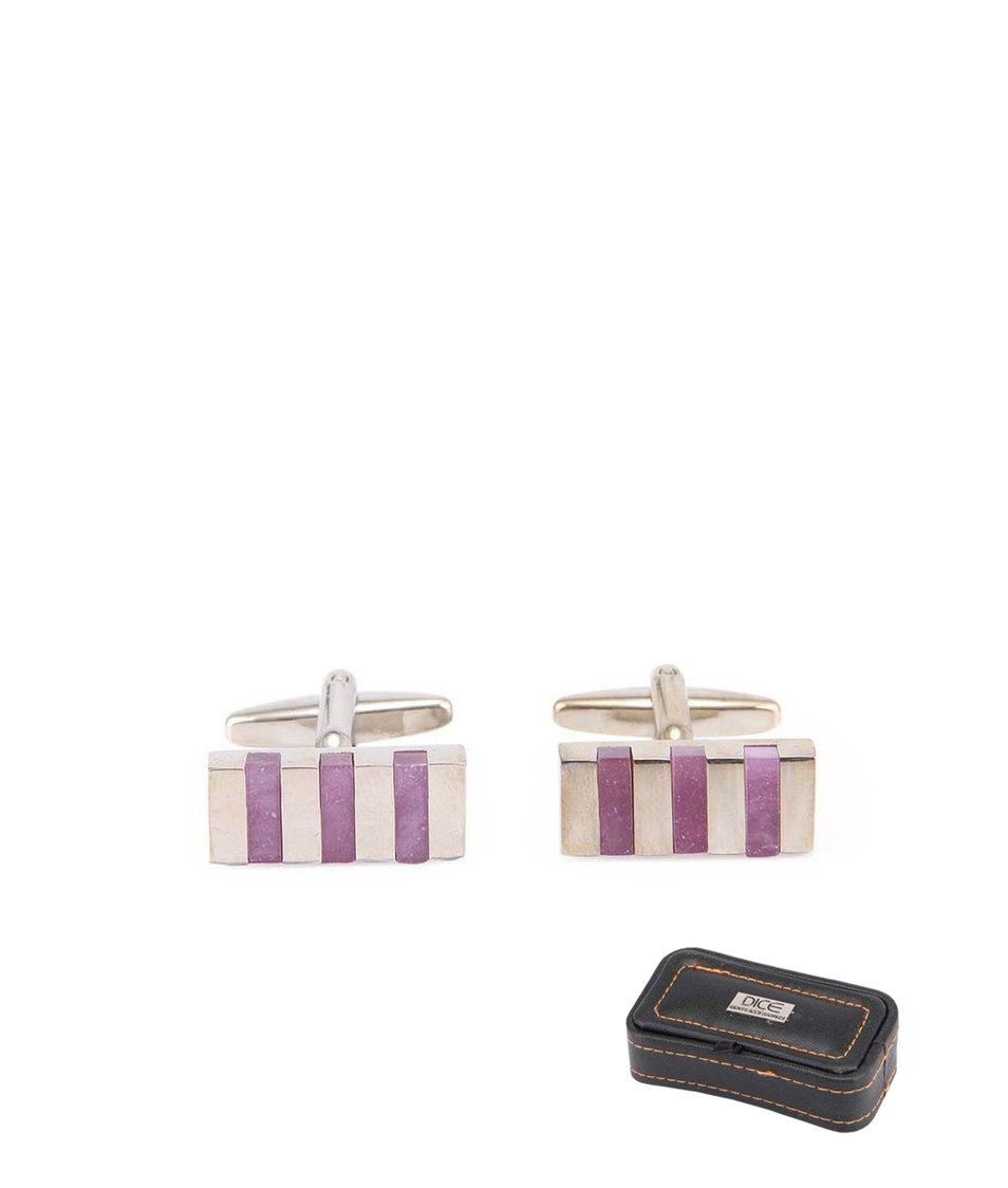Fialovo-stříbrné manžetové knoflíčky v dárkové krabičce Dice