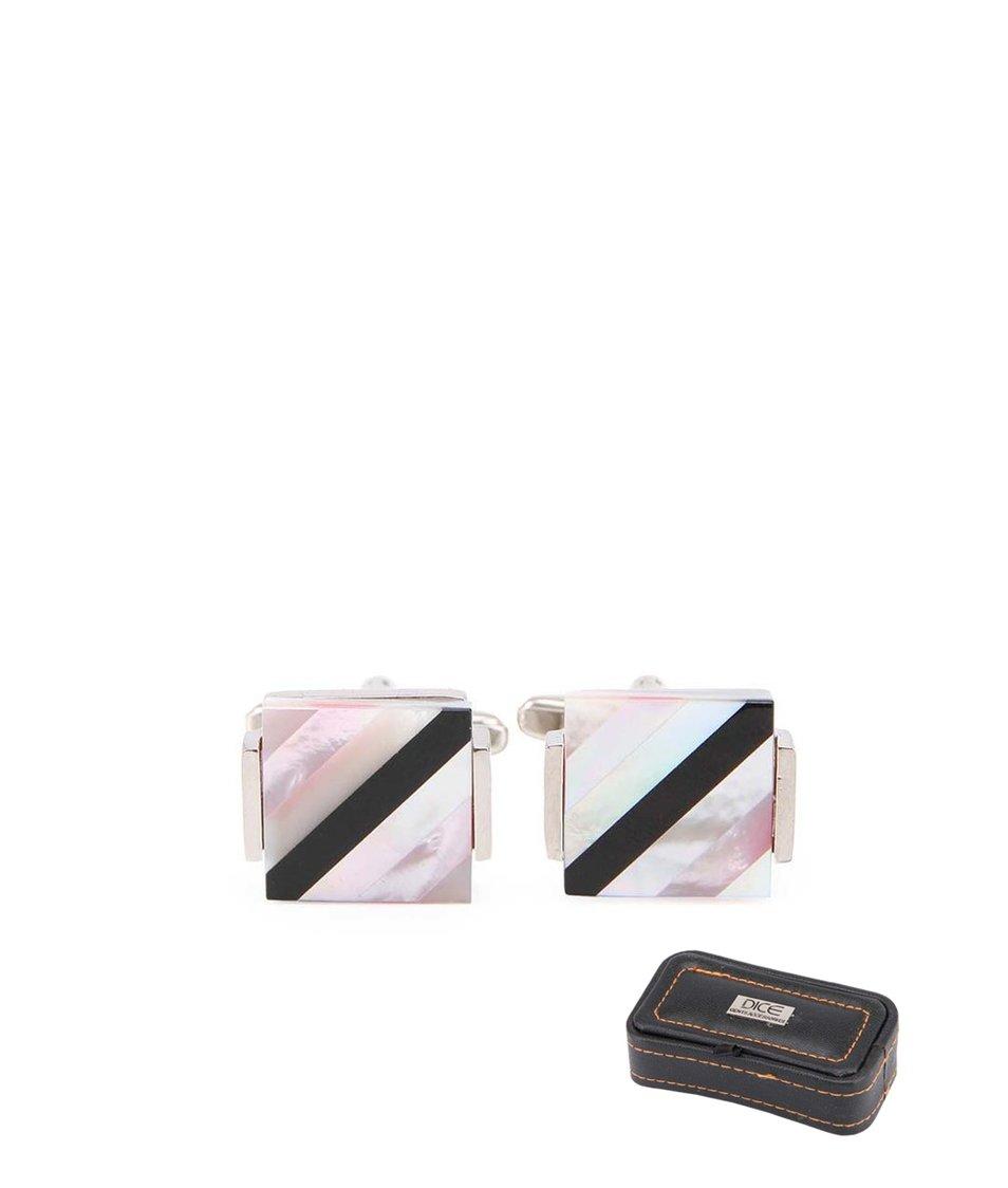 Černo-růžové manžetové knoflíčky v dárkové krabičce Dice