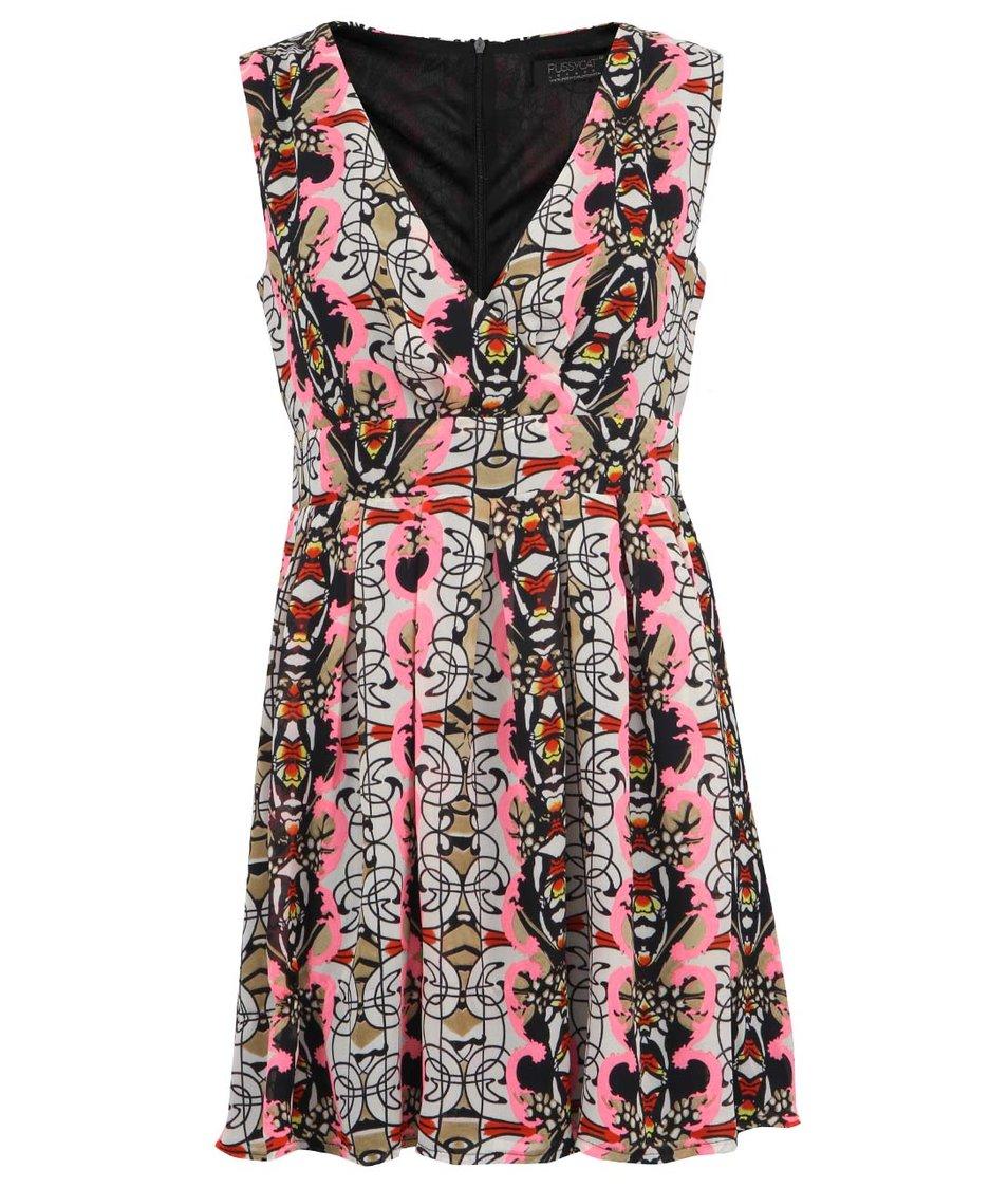 Vzorované šaty do růžova Pussycat London