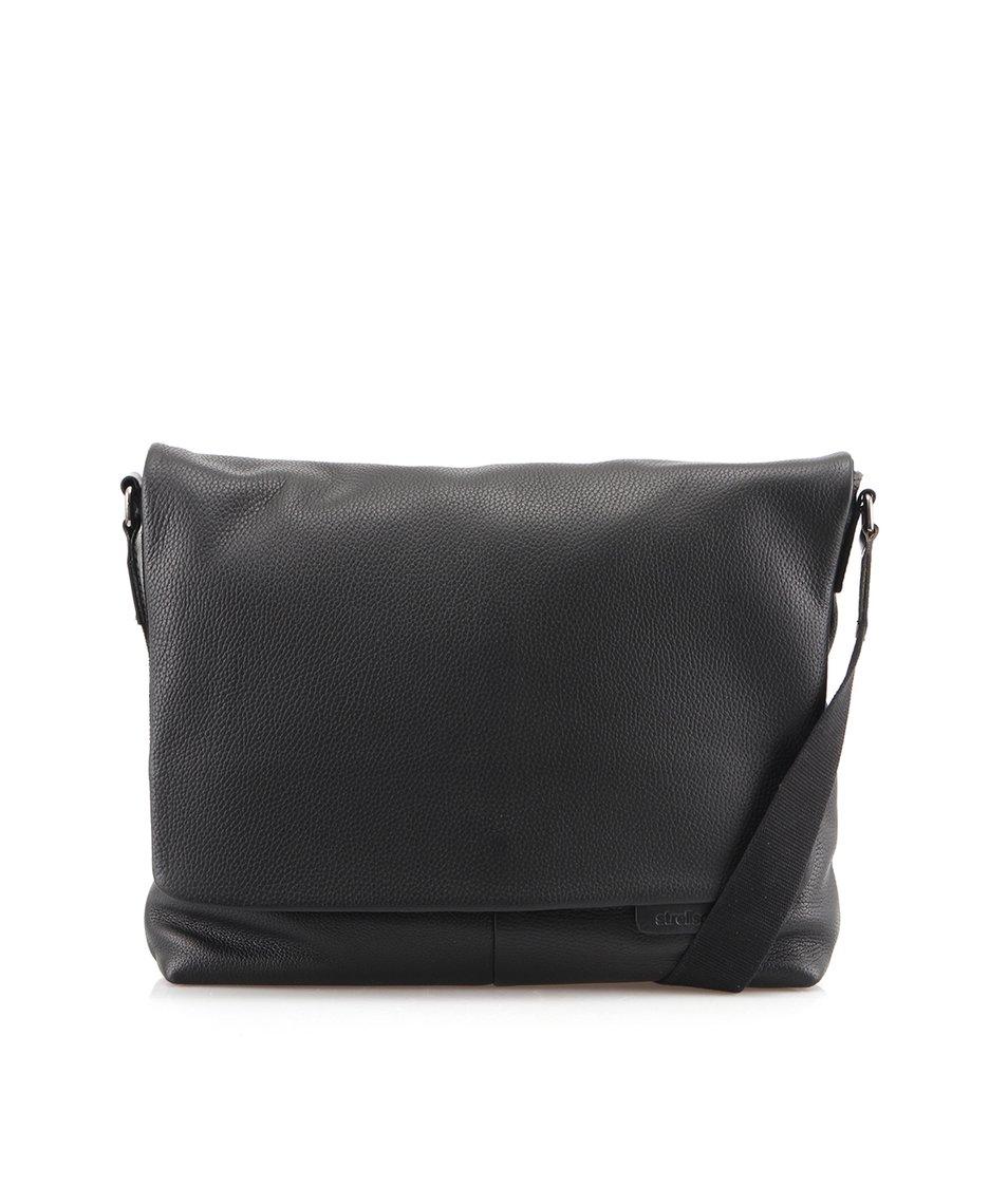 Černá kožená taška messenger Strellson Garrett LH
