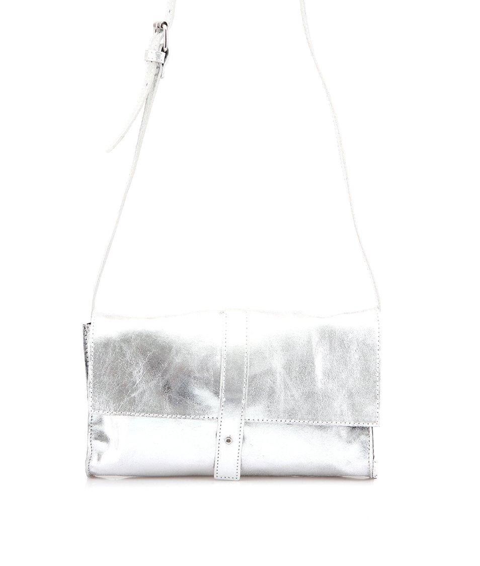 Stříbrná kožená kabelka přes rameno Pieces Hola