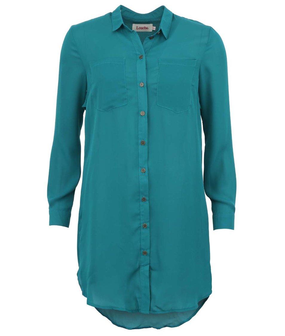 Smaragdově zelená delší košile Louche Brian