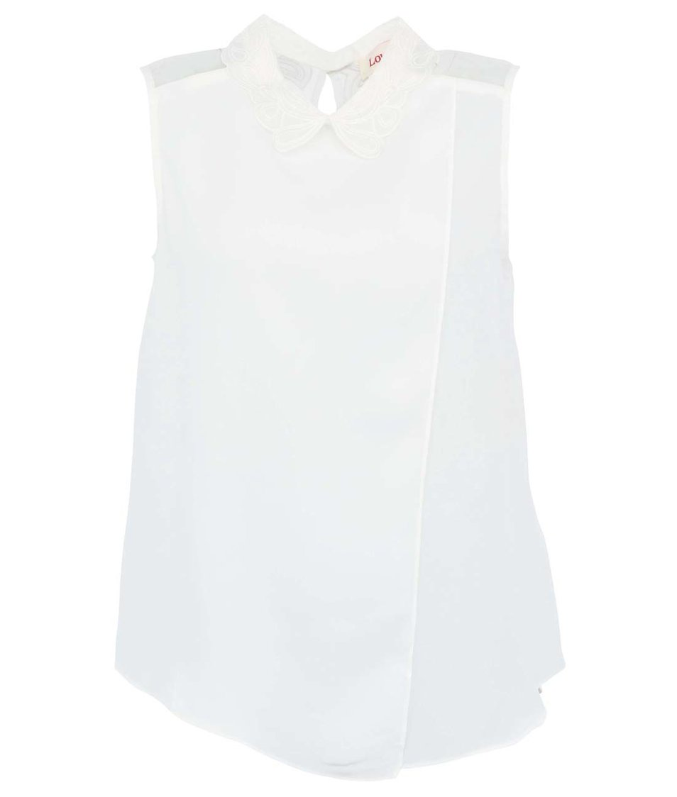 Bílý top s krajkovým límečkem Louche Jolienne