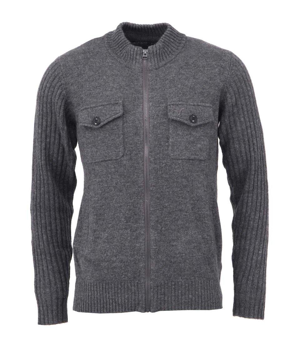 Tmavě šedý pánský svetr Voi Jeans Rib