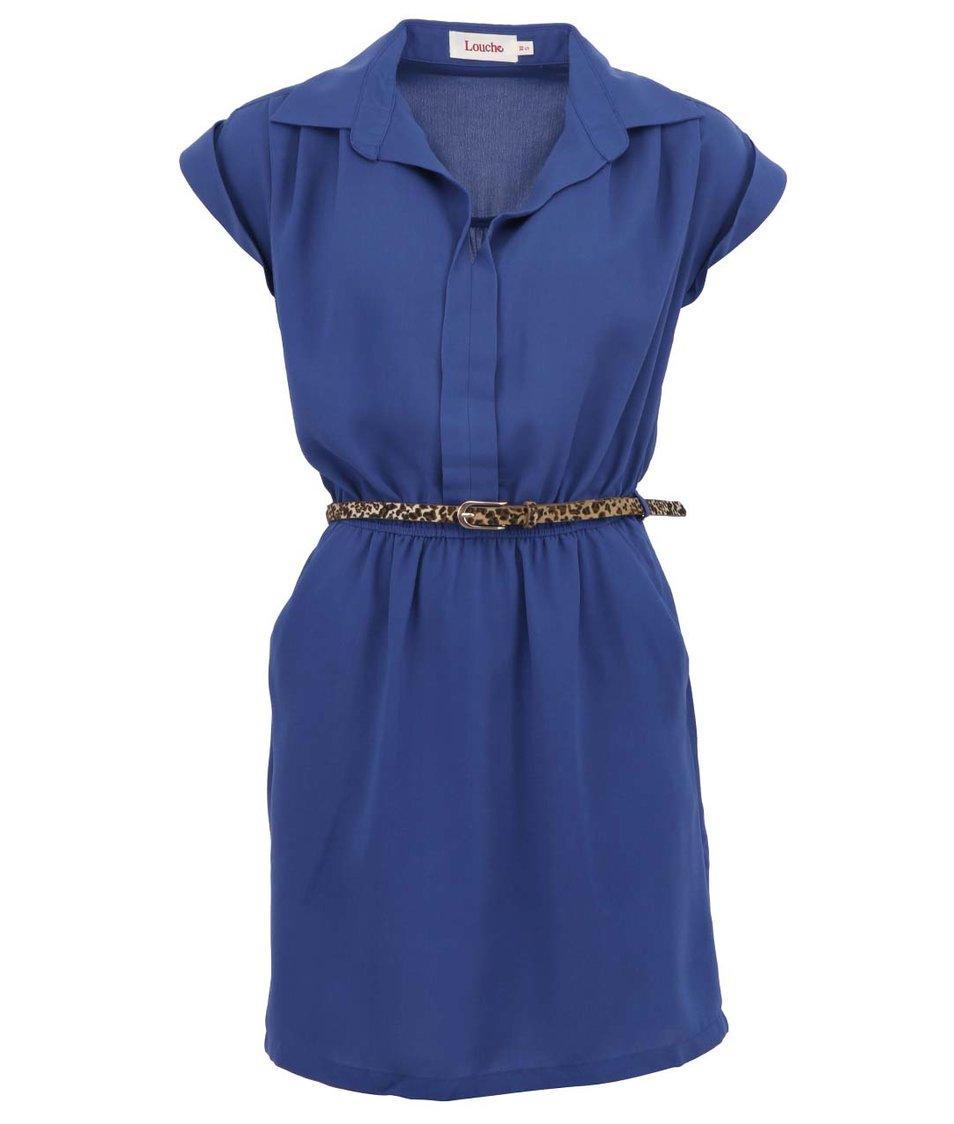 Světle modré šaty s leopardím páskem Louche Minette