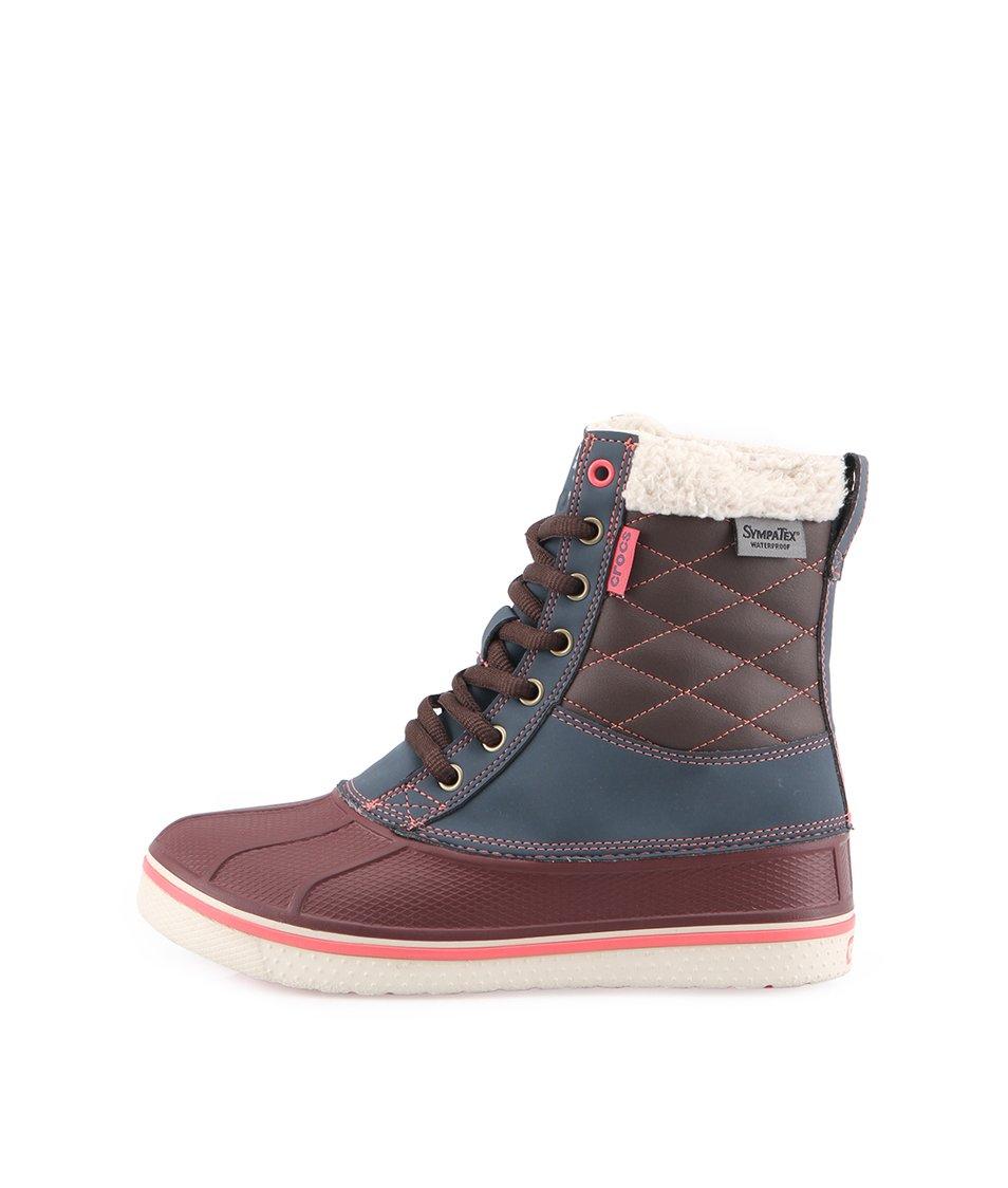 Růžovo-hnědé dámské voděodolné boty Crocs Duck